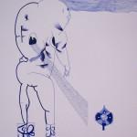 Bez názvu , 2012, 21x42 cm, propiska na papíře