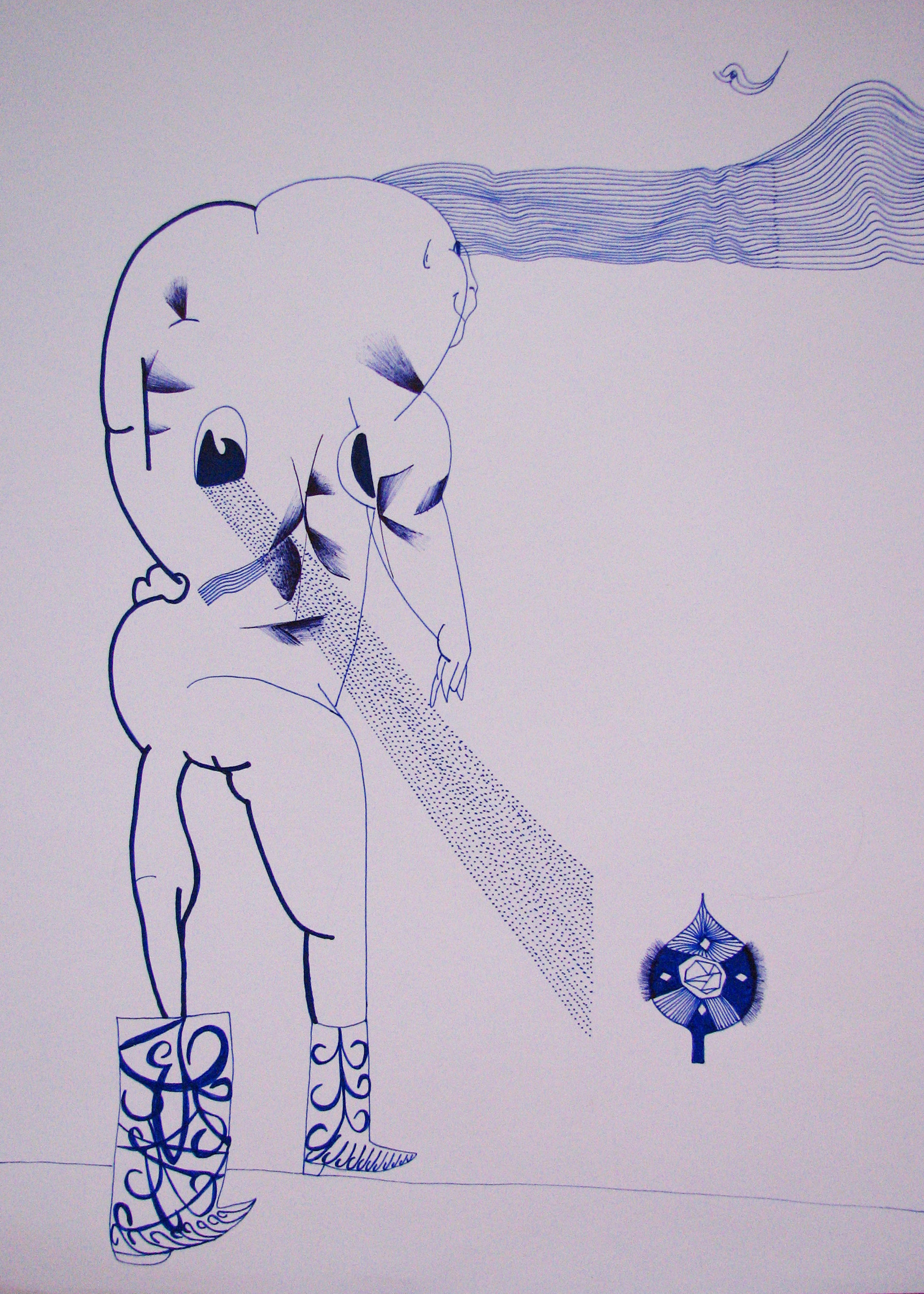 Bez názvu , 2012, 21×42 cm, propiska na papíře