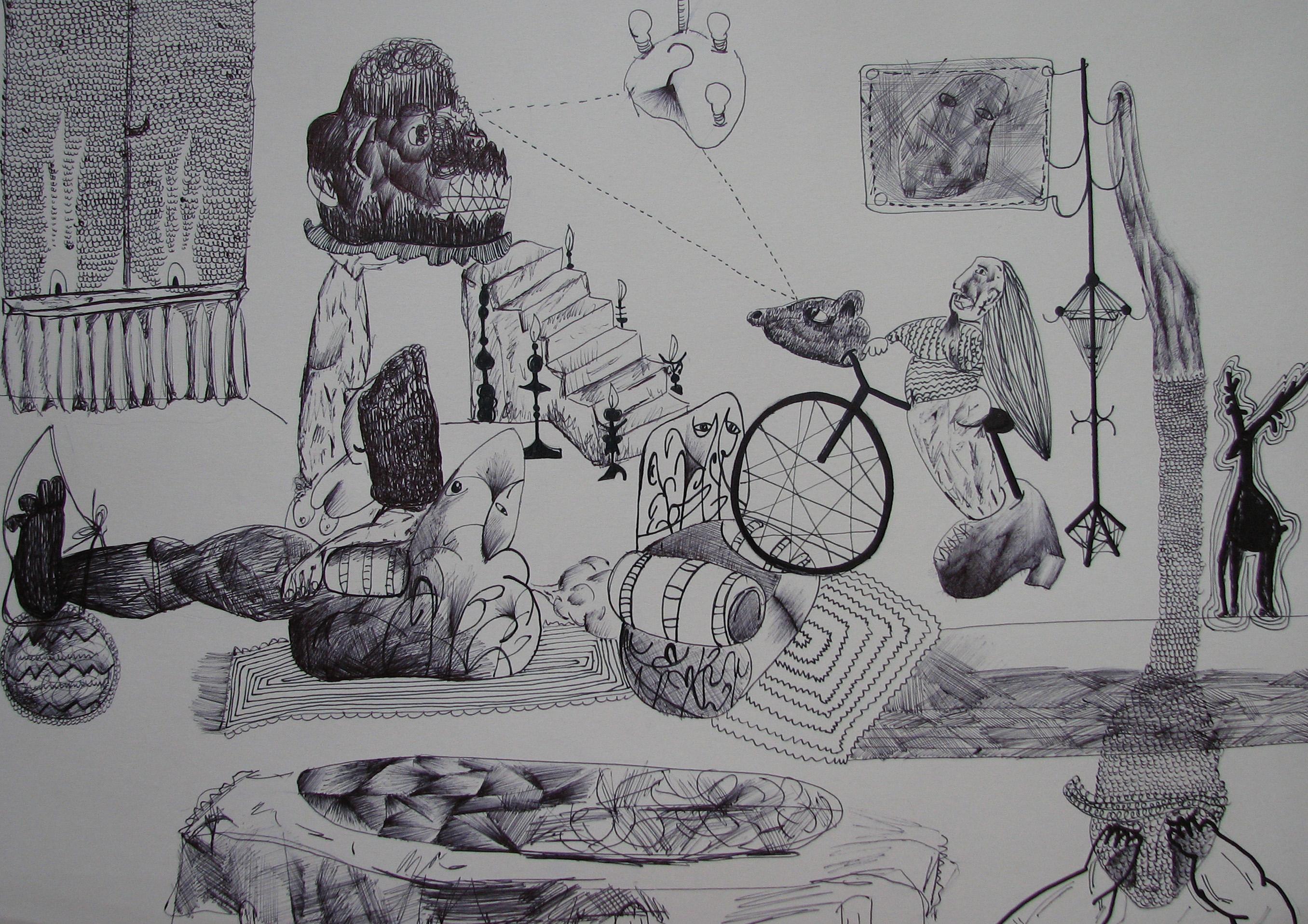 Bez názvu, 2012, 21×42 cm, propiska na papíře