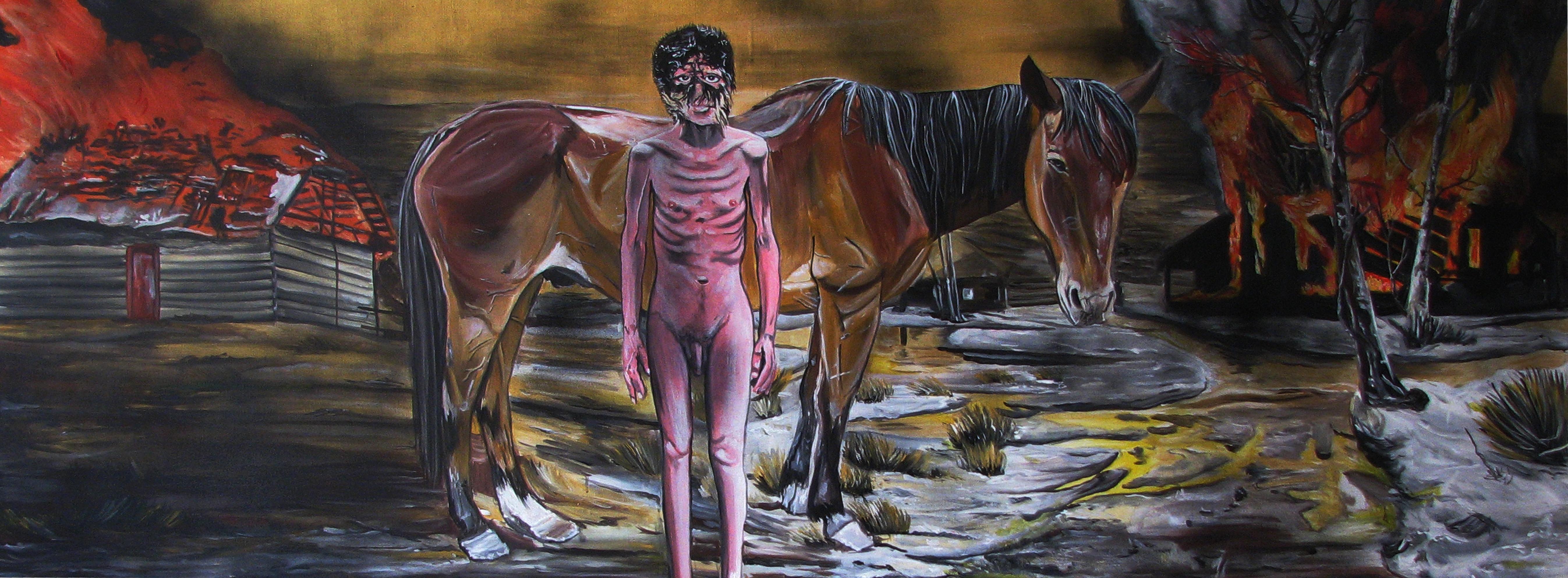 Kluk a kůň,2013, 220×70 cm, akryl na plátně