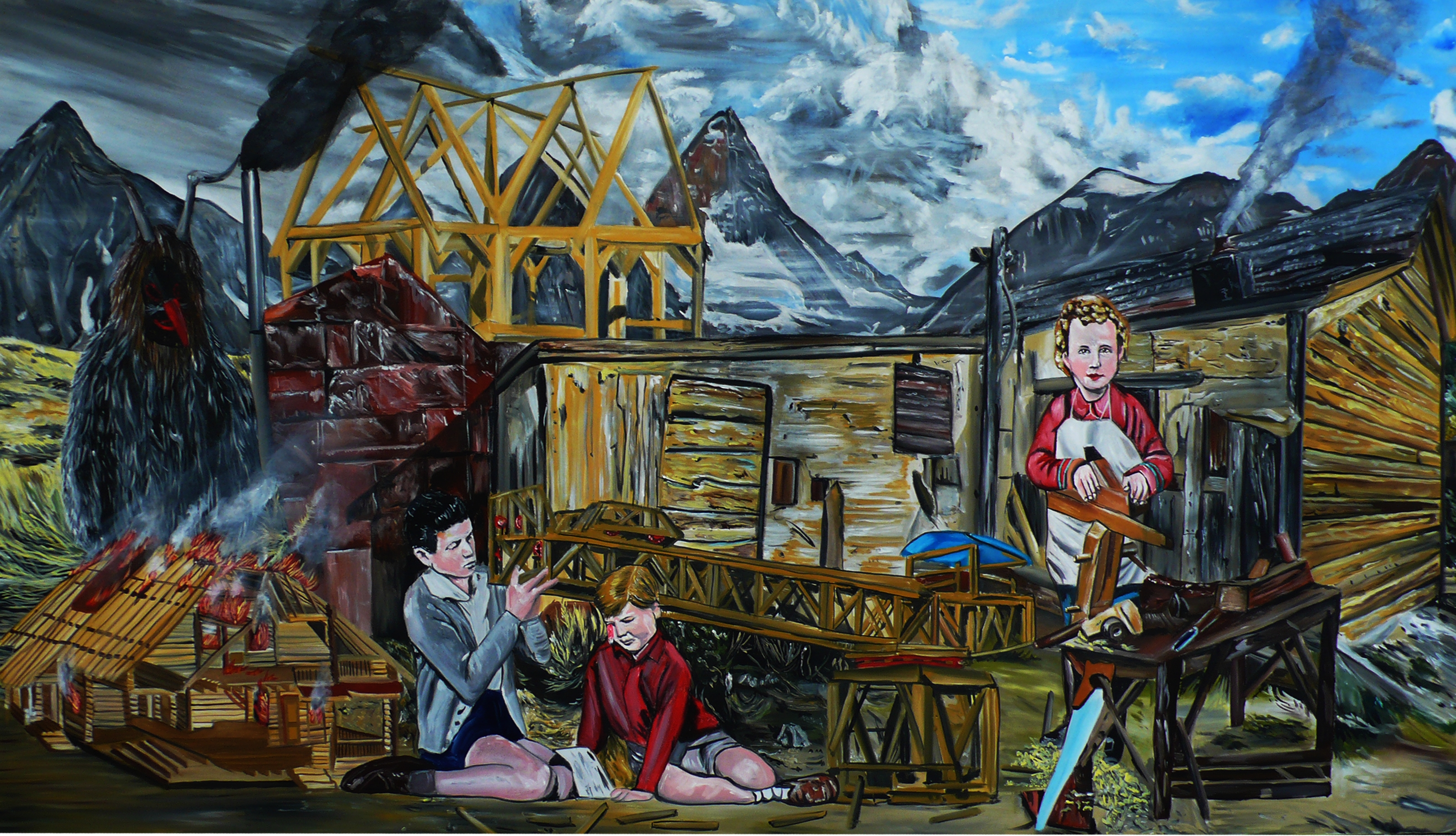 Mladej kumštýř, 2012, 155×270 cm, akryl na plátně