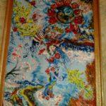 Bohynĕ přírody,2013, 1,5m x půl metru, akrylovými barvami na dřevo,material dřevo