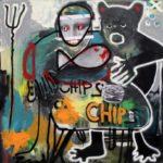 ZOO bakchanálie, 2016, 140cm x 140cm, akryl, sprej a tisk na plátně